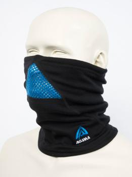 aclima doublewool neck gaiter - jet black (sky diver/periscope)