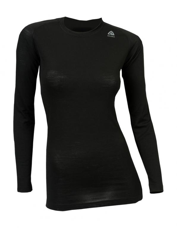 aclima lightwool crew neck dame - jet black