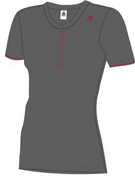 aclima lightwool henley shirt dame - iron gate/raspberry