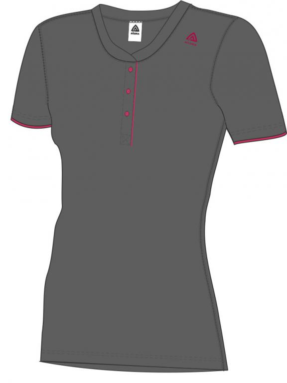 aclima lightwool henley shirt dame - iron gate/raspberry