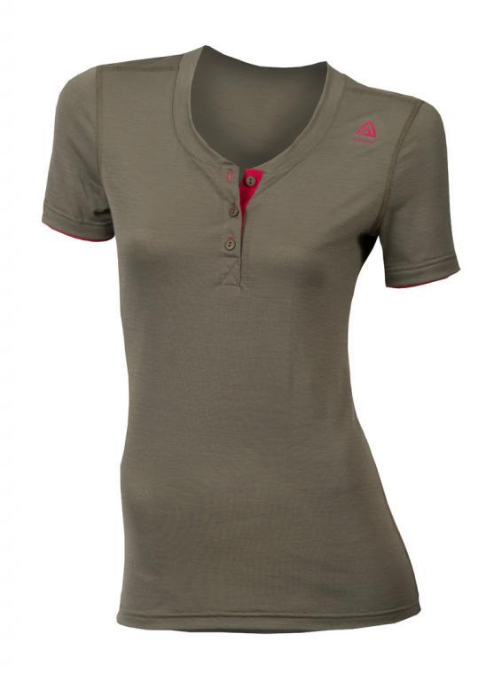 aclima lightwool henley shirt dame - ranger green/persian red