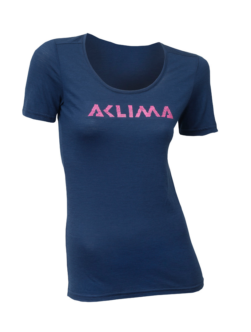 aclima lightwool t-shirt logo dame - insignia blue