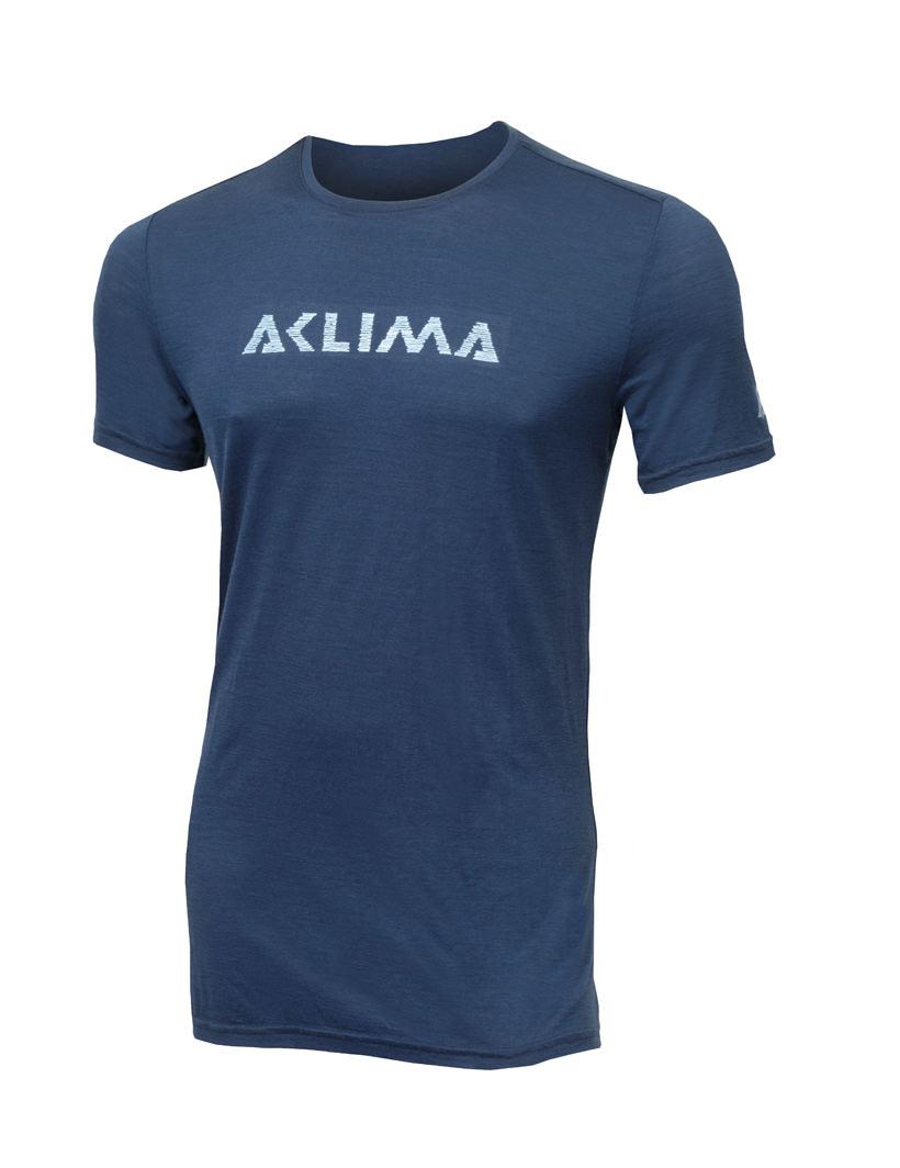 aclima lightwool t-shirt logo herre - insignia blue