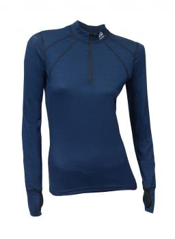aclima lightwool zip shirt dame - insignia blue