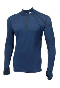 aclima lightwool zip shirt herre - insignia blue