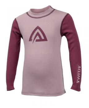 aclima warmwool crew neck barn - mauve shadows/damson