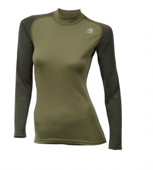 aclima warmwool crew neck dame - capulet olive/olive night