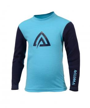 aclima warmwool crew neck junior - river blue/peacoat