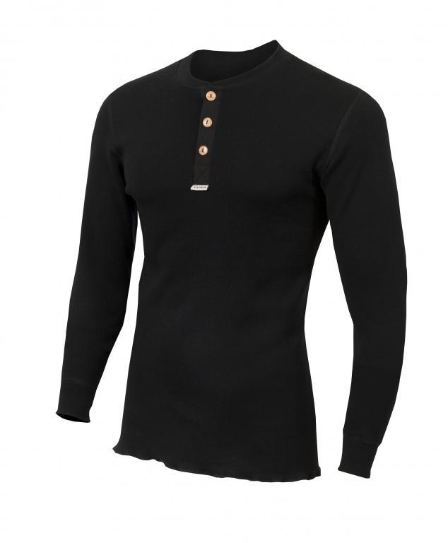 aclima warmwool granddad shirt herre - jet black