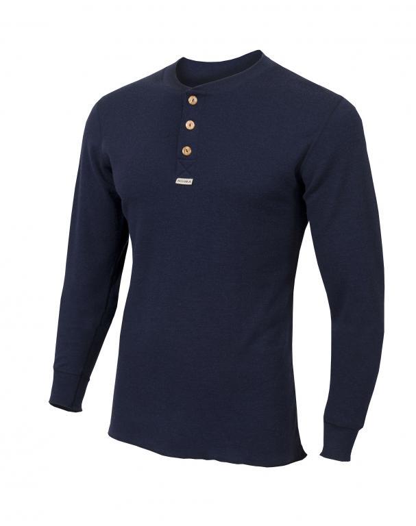 aclima warmwool granddad shirt herre - peacoat