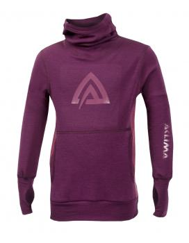 aclima warmwool hood sweater barn - grape wine/damson