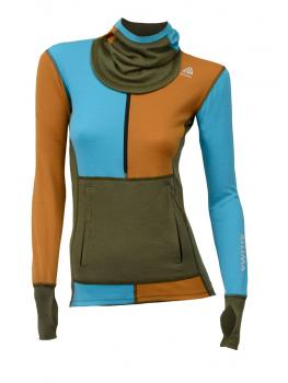 aclima warmwool hoodie w/zip dame - capulet olive/sudan brown/river blue