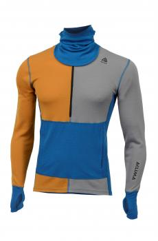 aclima warmwool hoodie w/zip herre - sudan brown/frost grey/blue sapphire