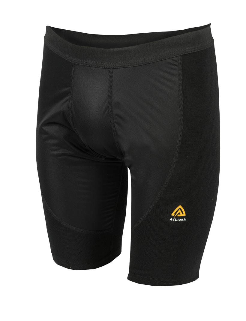 aclima warmwool long shorts w/windstop herre - jet black