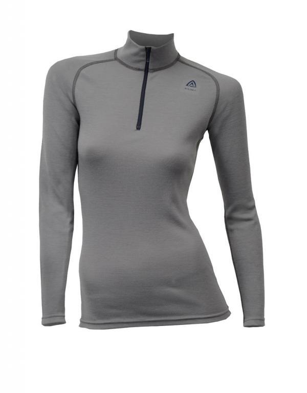 aclima warmwool mock neck w/zip dame - frost grey
