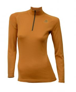 aclima warmwool mock neck w/zip dame - sudan brown