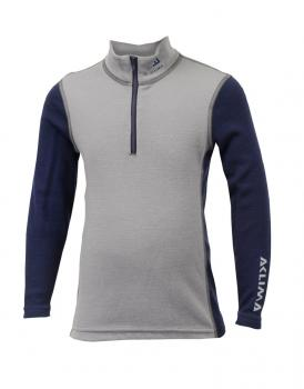 aclima warmwool mock neck w/zip junior - frost grey/peacoat