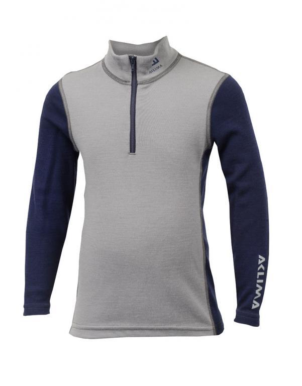 aclima warmwool mock neck w/zip junior - frost grey/peacoat