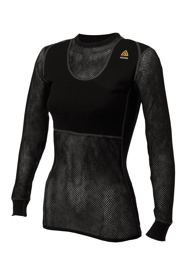 aclima woolnet crew neck dame - jet black