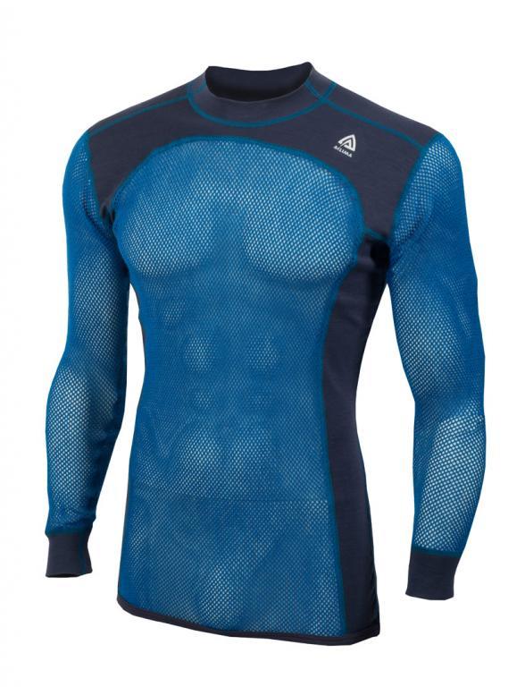 aclima woolnet crew neck herre - sky diver/periscope