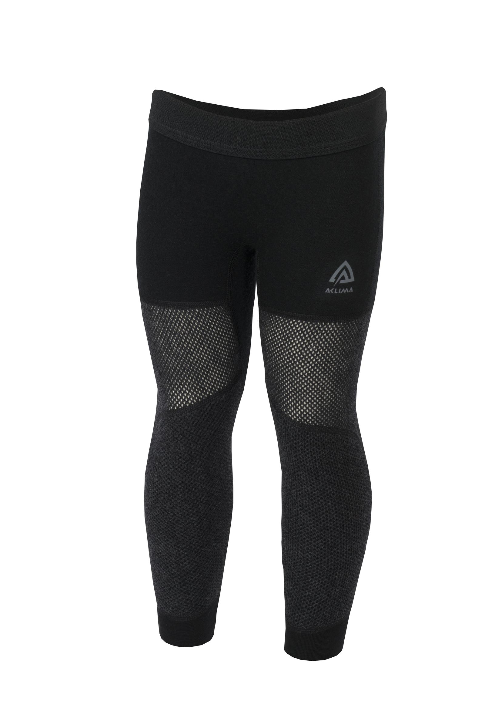 aclima woolnet mini longs junior - brace melange/jet black