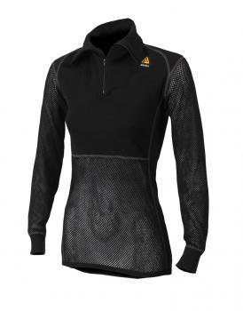 aclima woolnet polo w/zip dame - jet black
