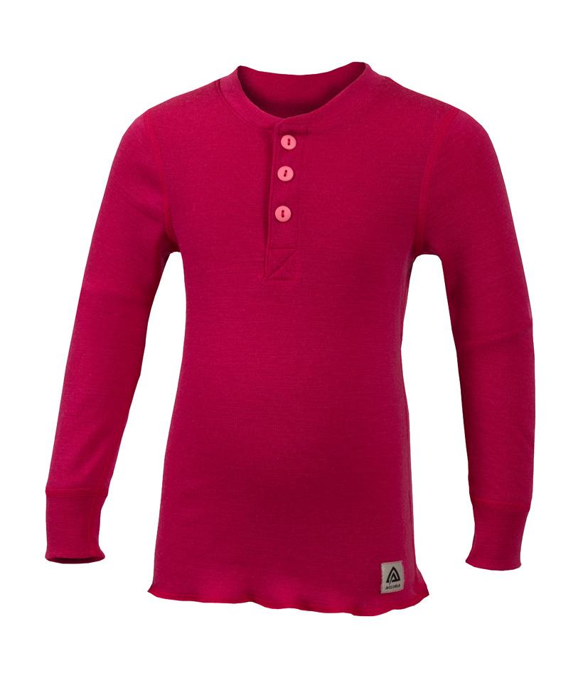 aclima warmwool granddad shirt junior - cerise