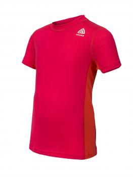 aclima lightwool t-shirt barn - raspberry/poinciana