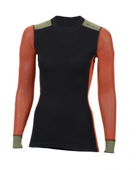 aclima woolnet hiking crew neck dame - jet black/poinciana/capulet olive