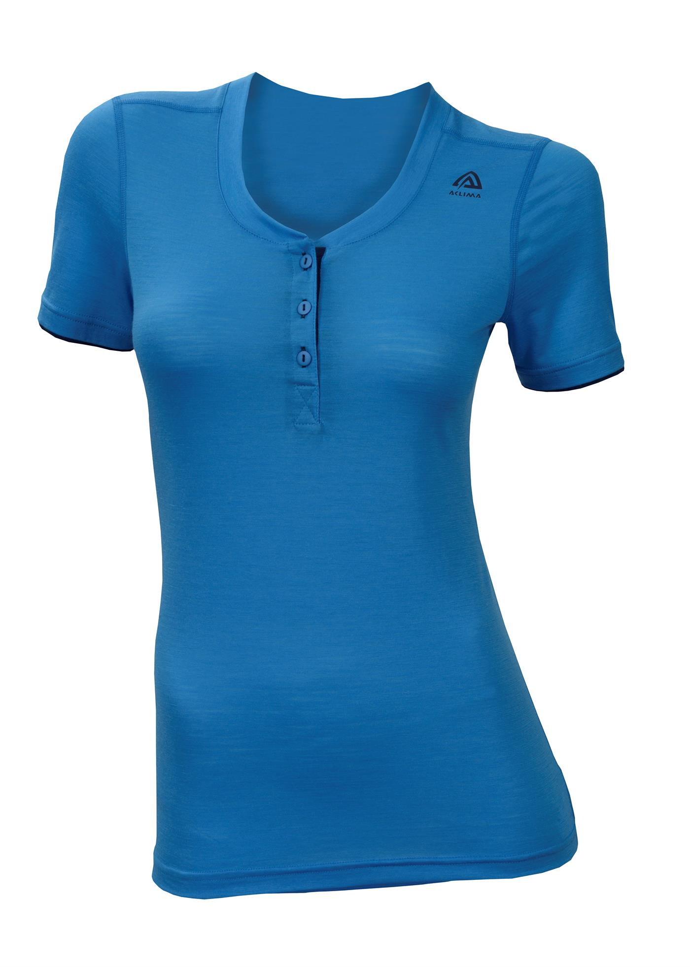 aclima lightwool henley shirt dame - blithe/insignia blue