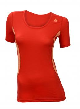 aclima lightwool t-shirt round neck dame - high risk red/muskmelon