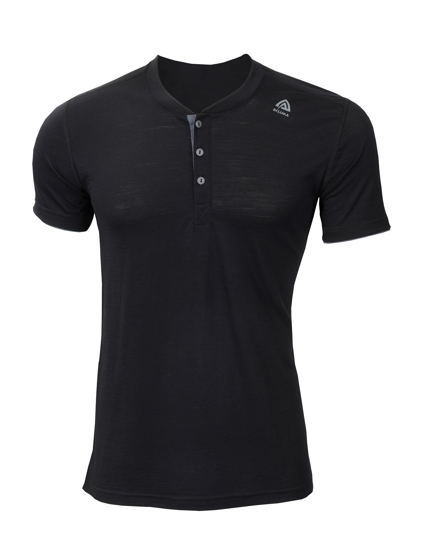 aclima lightwool henley herre - jet black/iron gate