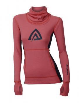aclima warmwool hood sweater dame - calypso coral/peacoat