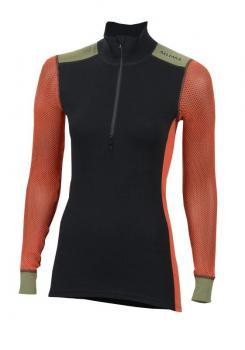 aclima woolnet hiking mockneck dame - jet black/poinciana/capulet olive