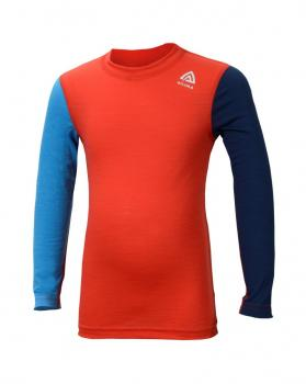 aclima lightwool crewneck barn - high risk red/ blithe/insignia blue