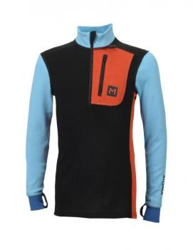 aclima lars monsen anárjohka warmwool polo zip junior - jet black/river blue/poinciana/blue sapphire