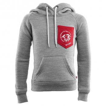 aclima fleecewool hoodie junior - grey mélange/chili pepper