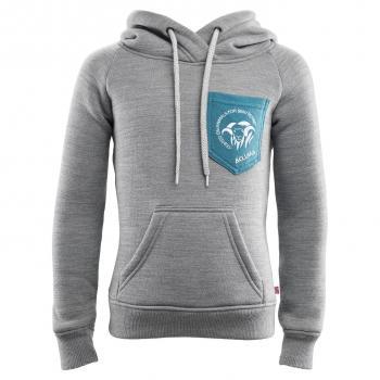 aclima fleecewool hoodie junior - grey mélange/tapestry
