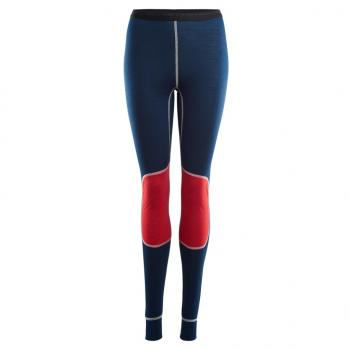 aclima lightwool reinforced longs dame - insignia blue/high risk red