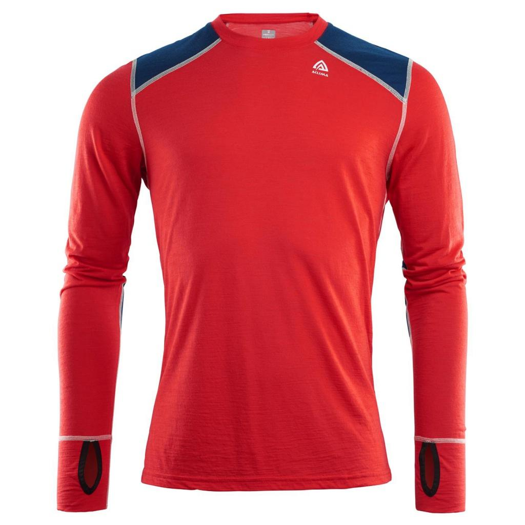 aclima lightwool reinforced crewneck herre - high risk red/insignia blue