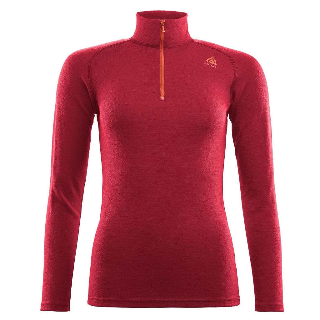 aclima warmwool mock neck w/zip dame - chili pepper