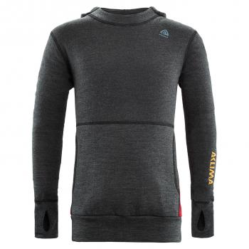 aclima warmwool hood sweater junior - marengo/chili pepper