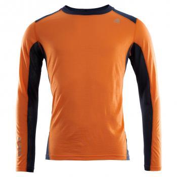 aclima lightwool sports shirt herre - orange popsicle/navy blazer