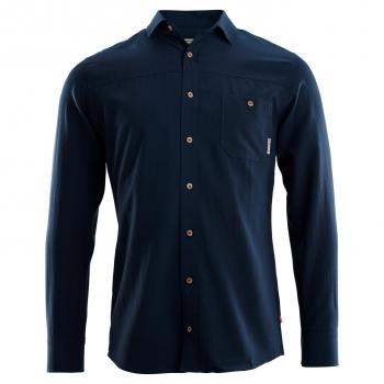 aclima leisurewool woven wool shirt herre - navy blazer