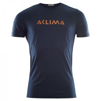 aclima lightwool t-shirt logo herre - navy blazer