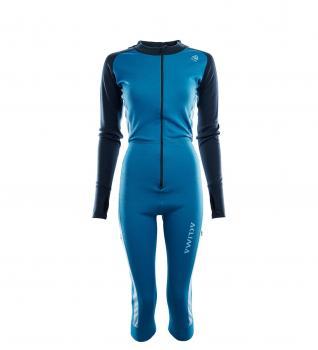 aclima warmwool overall ¾ dame - blue sapphire/navy blazer/azure blue